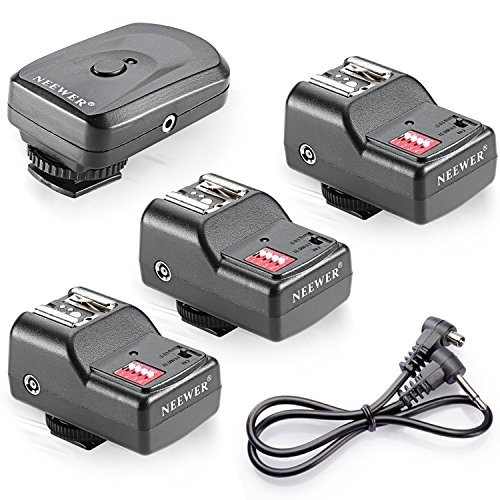 (Neewer 16 Channel Wireless Flash Trigger Set: 1 Transmitter + 3 Receivers + 1 Sync Wire Cable for Canon, Nikon, Pentax, Sigma, Vivitar and Other Flash Units with Universal Hot Shoe)