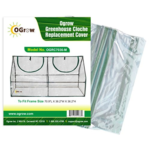 OGrow Greenhouse Cloche Replacement Cover,70.9 x 36.2 x 36.2-Inch