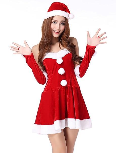 MissFox Costume Babbo Natale Donna Santa Cosplay Senza Spalline Rosso   Amazon.it  Abbigliamento 839b485fd70