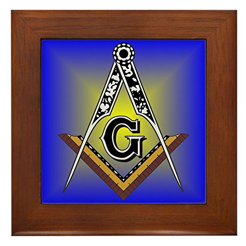 CafePress - Masonic Square and Compass Framed Tile - Framed Tile, Decorative Tile Wall Hanging