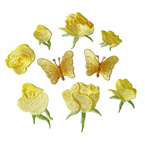 Yellow Butterfly Roses (9pcs Yellow Small Rose flower butterfly embroidery Iron On Patches(different dize))