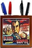 Rikki Knight Vintage Movie Posters Art Blood of Vampire 3 Design 5-Inch Wooden Tile Pen Holder (RK-PH3703)