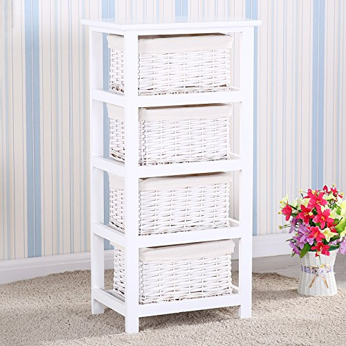 Uenjoy Retro White Wood Shabby Chic Nightstand End Side Bedside Table w/Wicker Storage (4 Wicker Baskets)