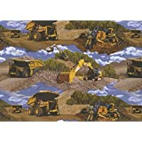 Caterpillar Construction Machines Quilt Fabric By The Yard