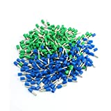 Aexit 14 AWG Wire E2508 Green Blue Pre-Insulated Ferrules Terminals 380Pcs