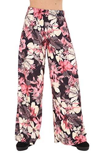 F4U - Pantalones estampados para mujer, pierna ancha, diseño floral, tallas grandes Lotus Floral