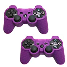 HDE Sony PS3 Controller Skin Silicone Grip Cover Case for Playstation 3 Dualshock Wireless Game Controllers 2 Pack (Purple)