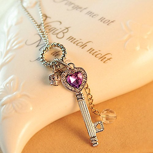 ly Women Gold Silver Love Heart Key Pendant Long Chain Necklace Jewelry New Color silver ()