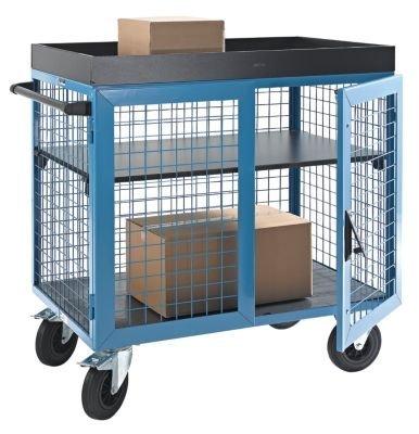 EUROKRAFT Schrankwagen KOMPAKT - Stirn- und Längsseiten aus Stahlgitter LxBxH 1150 x 750 x 1170 mm - Sicherheitstransporter Materialcontainer Materialschrank