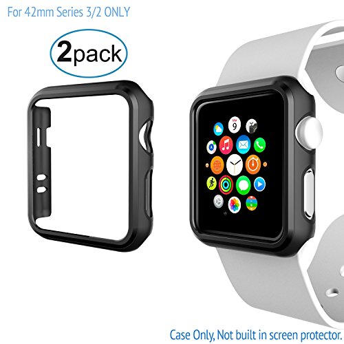 2 Pack Protector Compatible with Apple Watch Case 42mm Series 3 - iWatch Case Shock-Resistant and Anti-Scratch Slim Rugged Premium PC Frame Bumper Cover for Apple Watch 42mm Series 3/2 ONLY