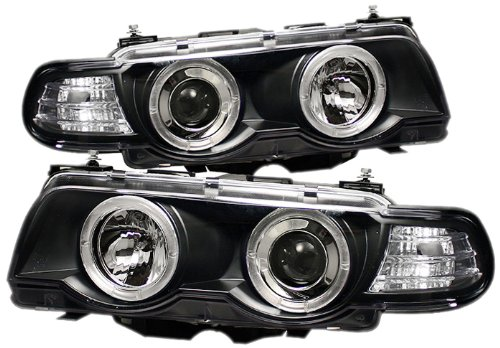 Spyder Auto PRO-YD-BMWE3899-HID-HL-BK BMW E38 7-Series Black/Amber HID Type Halo Projector Headlight