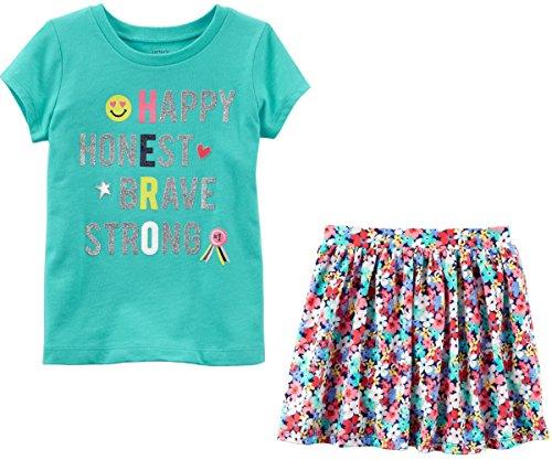 Skirt Skort Shirt - Carter's Toddler Little Big Girl's Short Sleeve Shirt and Skort Skirt Set (7, Green Hero and Floral)