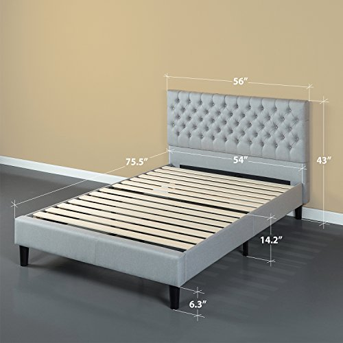 Zinus Upholstered Grand Button Tufted Platform Bed with Wood Slat Support in Grey, Full