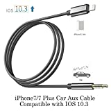 iPhone 7 Car Aux Cable, [Upgraded] Lightning to 3.5mm Premium Auxiliary Audio Cable Accessories