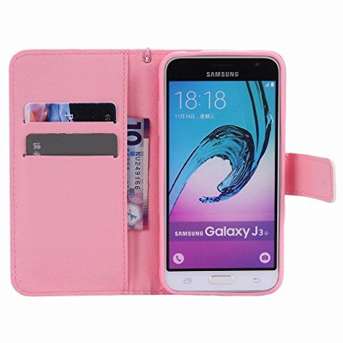 Yiizy Samsung Galaxy J3 (2016) J320 Funda, Pétalos Azules Diseño Solapa Flip Billetera Carcasa Tapa Estuches Premium PU Cuero Cover Cáscara Bumper Protector Slim Piel Shell Case Stand Ranura para Tarj