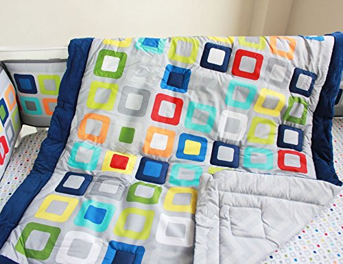 NAUGHTYBOSS Baby Bedding Set Cotton 3D Embroidery Colorful Tetris Quilt Bumper Mattress Cover Urine Bag Blankets 9 Pieces Multicolor by NAUGHTYBOSS (Image #3)
