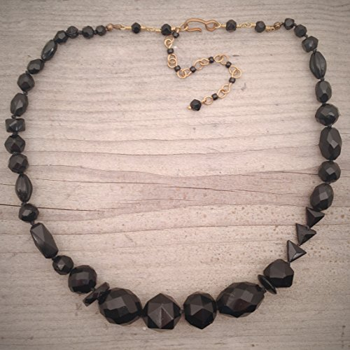 Black Hand Knotted Asymmetrical Necklace Made from Victorian Mourning Jewelry Jet and French Jet Beads OOAK