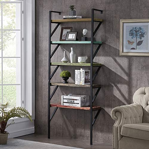 HOMYSHOPY Industrial Ladder Shelf Against The Wall