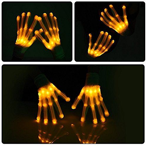 Led Skeleton Gloves, TILO Color Changeable Light Up Shows Skull Changing LED Flashing Light Colorful Charming Halloween Costume Novelty Christmas Gift For Friends (Yellow)