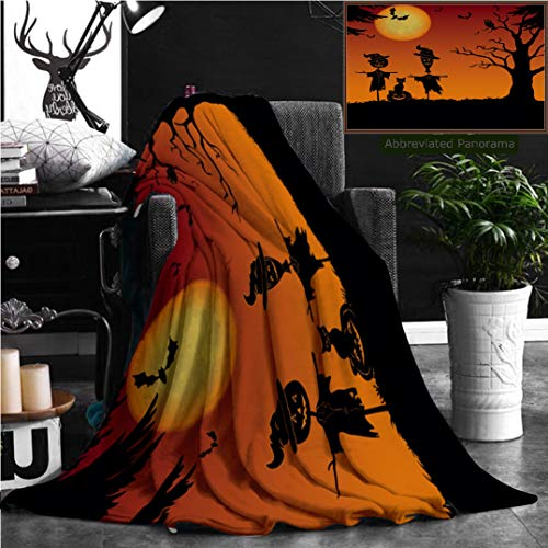 Nalagoo Unique Custom Flannel Blankets Halloween Cartoon Landscape With The Moon Pumpkin Jack O Lantern Scarecrows Cat Owl Trees And Ba Super Soft Blanketry for Bed Couch, Twin Size 80