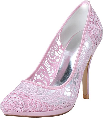 Work Wedding Pumps 20 Eu Pink Platform Lace Job Bride Ladies Toe Pointed Ol 37 Heeled Comfort 0255 Nightclub 6X4fY4x