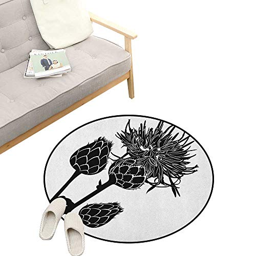 (Artichoke Round Rugs ,Artistic Growing Thistle in Monochrome Style Thorny Plants Healthy Organic, Design Home Decoration 47