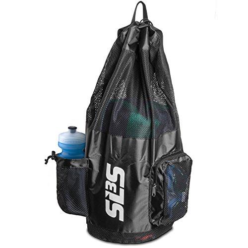 Mesh Backpack Swim Bag (SLS3 Big Mesh Equipment Sport Drawstring Swim Bag with Shoulder Straps Heavy Duty Black (Black))