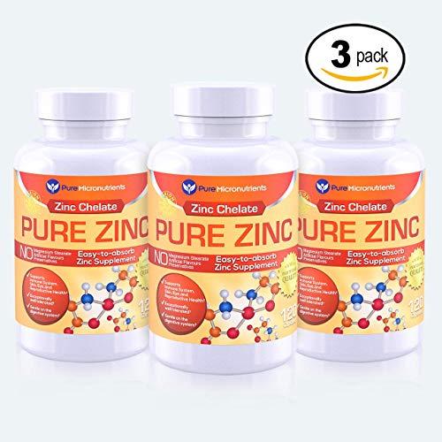 Pure Micronutrients Zinc Supplement Natural Zinc Glycinate Supplements Chelated 25mg 120