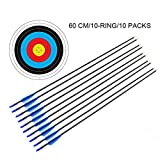 10Pcs 29'' Fiberglass Archery Arrows and Target Faces Set 10Pcs 60cm