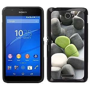 Caucho caso de Shell duro de la cubierta de accesorios de protección BY RAYDREAMMM - Sony Xperia E4 - Significado de color verde oscuro Gris Beach