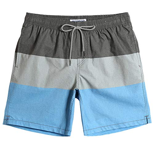 MaaMgic Mens Swim Trunks 4 Way Stretch Swim Shorts Quick Dry Striped Swimsuits with Pocket Board Shorts