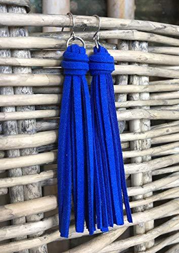 Cobalt Blue Faux Suede Tassel Earrings