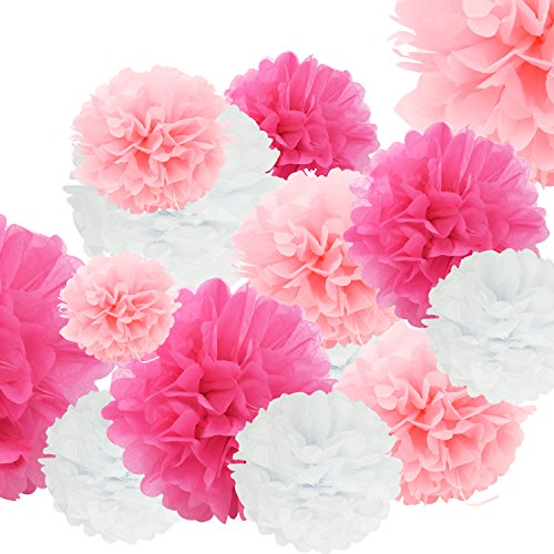 Doubletwo DT-Pompom 24pcs Tissue Ceiling Wall 12in 10in 8in Hanging Paper poms Ball Wedding Party Outdoor Decoration Flowers Craft Kit (Pink White), 24 Piece ()