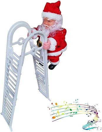 Comtervi Climbing Juguete eléctrico de Santa Claus Musical para Subir Escalera eléctrica Santa Claus música Juguete decoración de Adorno: Amazon.es: Hogar