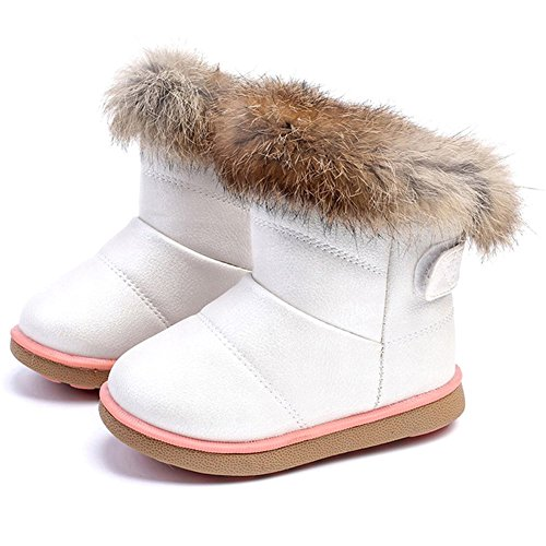 CIOR Girls' Winter Snow Boots Outdoor Fashion Warm Fur Boots with Velcro (Toddler/ Little Kid) TXA,88White,30