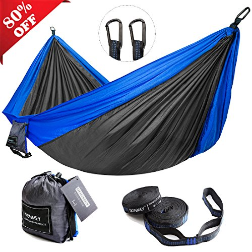 Parachute Nylon Travel Hammock - DONMEY Single & Double Parachute Camping Hammock with Tree Straps - Lightweight Portable Nylon Hammocks for Travel, Backpacking, Hiking, Beach, Yard by Blue/Dark Grey, 78