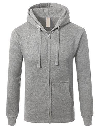 Mens Slim Fit Long Sleeve Lightweight Zip-up Hoodie With Kanga Pocket XL Heather Grey