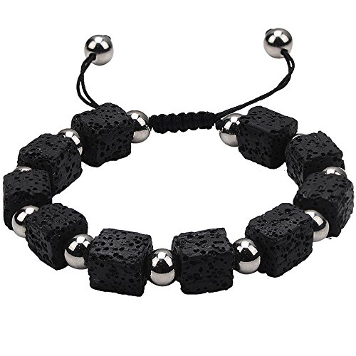 Lava Rock Bracelet Energy Bead-Jeka Cool Adjustable 10mm Natural Stone Essential Oil Diffuser Men Women