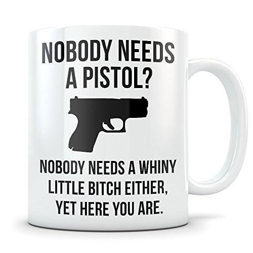 Pistol Mug - Funny 2nd Amendment Coffee Cup - Hand Gun Gift for Pistol Enthusiasts - Gun Rights Matter (Pellets 177 Light)