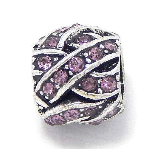 Pro Jewelry Barrel Style Weaved Light Purple Amethyst Crystals Charm Bead for Snake Chain Charm Bracelets