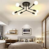 LADIQI 6 Lights Modern Semi Flush Mount Ceiling Light Metal Black Chandelier Close to Ceiling Lighting Fixture for Kitchen Bedroom Living Room