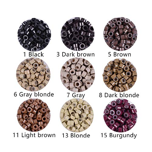 200/500Pcs/Pack Silicon Lined Micro Links Rings Beads Hair Feather Extensions 5# Brown 9 Colors Optional,11 Light Brown 200Pc