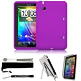 Best Skin Case For HTC Flyers - eBigValue Purple Cover Protective Slim Durable Silicon Skin Review