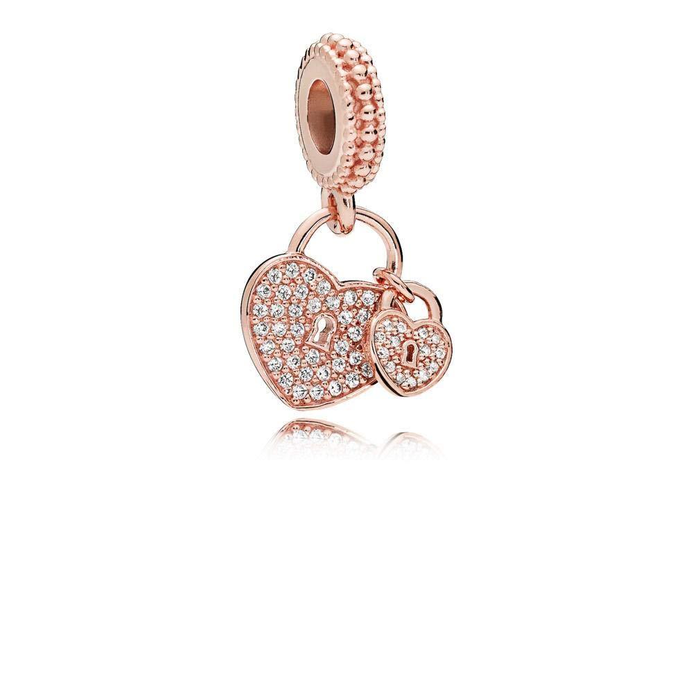 PANDORA Heart Padlock Dangle in PANDORA Rose with Clear Cubic Zirconia - 781807CZ