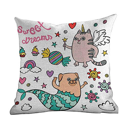 Matt Flowe Pillowcase Sets Decorative,Unicorn Cat,Pug Mermaid and Unicorn Cat Wishing Sweet Dreams Colorful Sweets and Rainbow,Multicolor,for Home Sofas,bedrooms,Offices,16