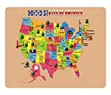 BleuReign(TM) Detailed Map of United States Of America Square Refrigerator Fridge Magnet