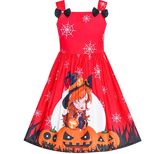 Girls Dress Halloween Pumpkin Witch Bow Tie Party Costume Size 2-3 ()