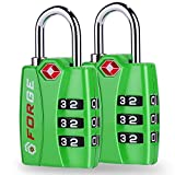 TSA Approved Luggage Locks, Alloy Body, Red Indicator, 1, 2 & 4 Pack (Green 2 Pack)