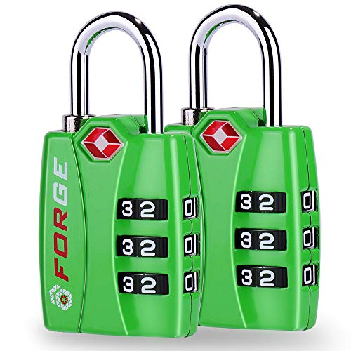 Lock Luggage Tag - TSA Approved Luggage Locks, Alloy Body, Red Indicator, 1, 2 & 4 Pack (Green 2 Pack)