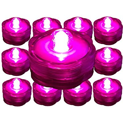 ~10 Pack~Hot Pink LED Submersible Battery Operated Tea Lights~Wedding, Party, Floral Arrangement, Centerpiece~BlueDot Trading